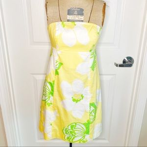 Lilly Pulitzer Strapless Butterfly Floral Dress L4